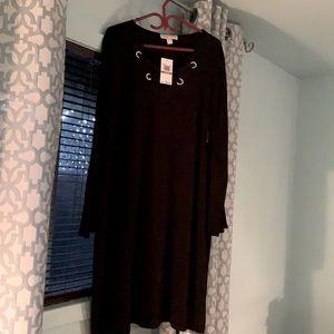 Michael Kors New Grommet Front Dress Black 3X